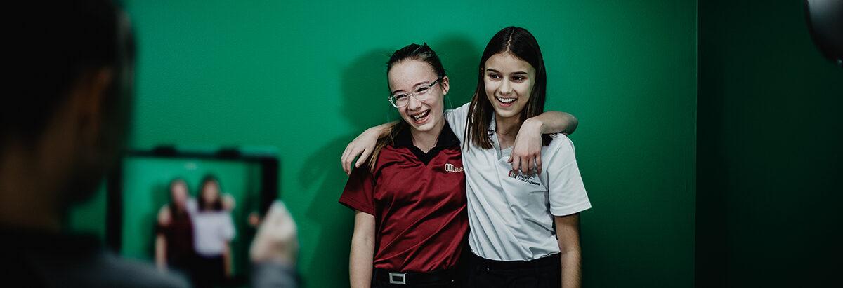 Photo étudiantes green screen